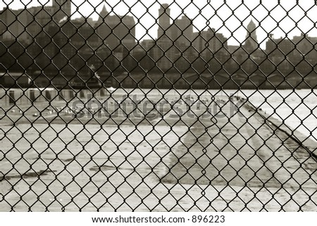 Fence in Manhattan, New York City - stock photo