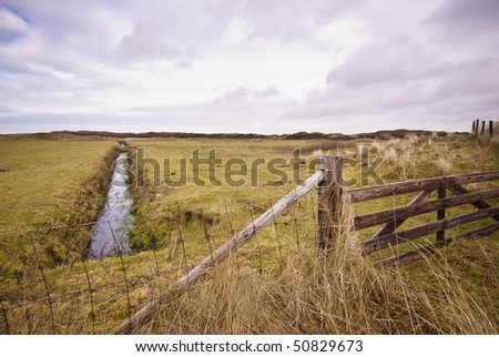 Fence in meadow,Texel, Holland
