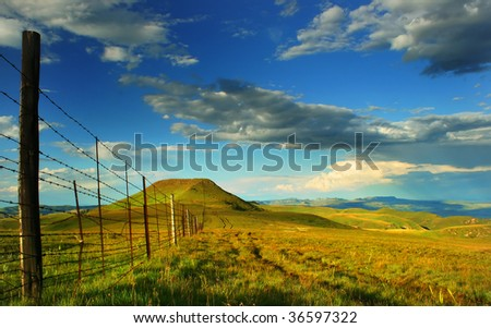 fence in mountain - stock photo