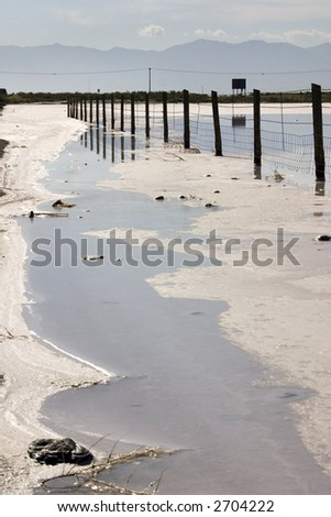 Fence in the Salt Lake , Utah with Clear Blue Skies and