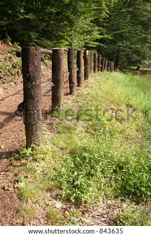 fence in wood - stock photo