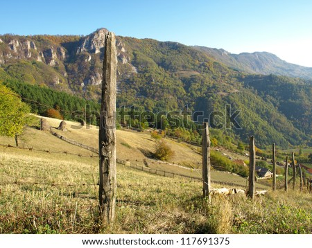 Fence line with a mountain view