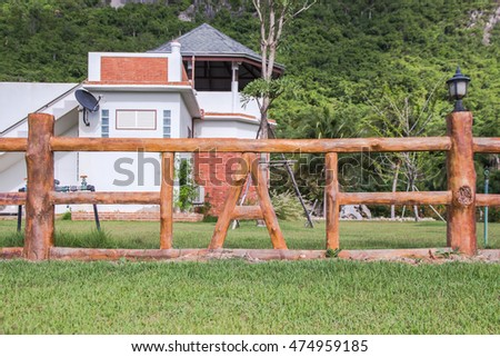 Fence made of cement make it wood at national park,public