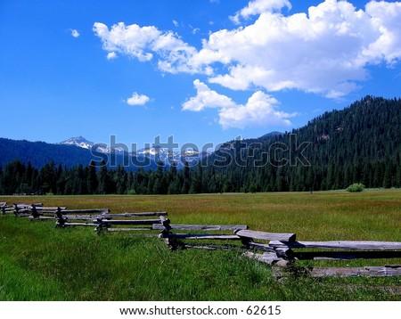 Fence near Lassen National Park, CA - stock photo