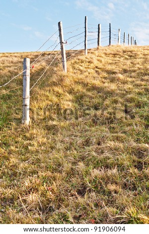 Fence of barbed wire - stock photo