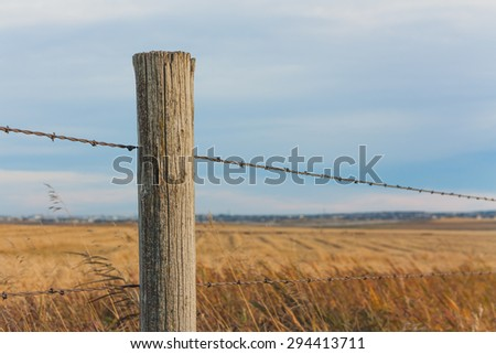 fence post. Fence Post With Prairie Landscape Bokeh.