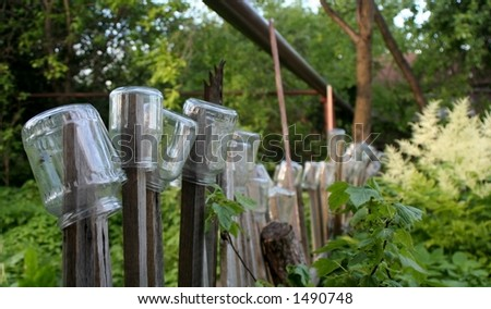 Fence with jars on it
