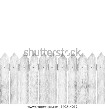 fence with planks isolated on white background - stock photo
