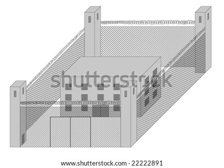 fenced prison with guard towers