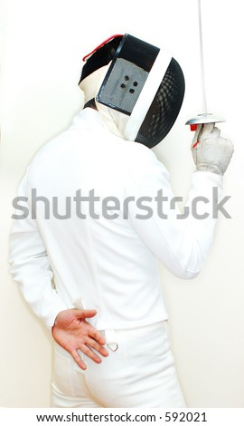 fencer close up in high key - stock photo