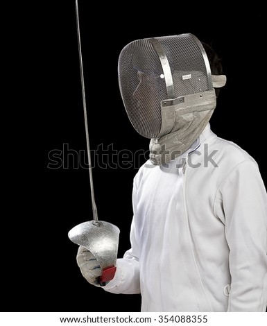 Fencer Looks at Copy Space      - stock photo