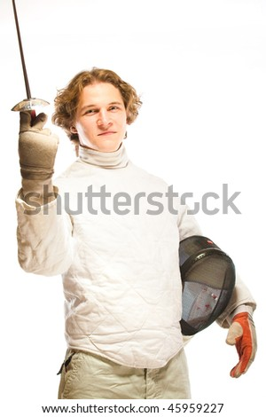 Fencer with rapier isolated on white - stock photo