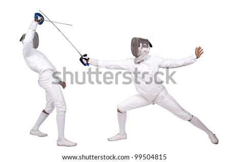 Fencing athletes isolated in white - stock photo