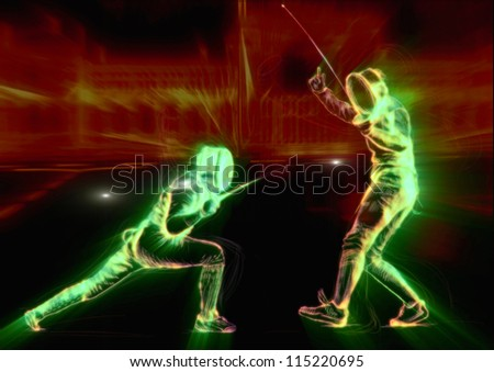Fencing. Effects of green fire and glow in fencing duel. (Drawing.) - stock photo