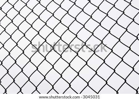 Fencing from an iron grid on a white background