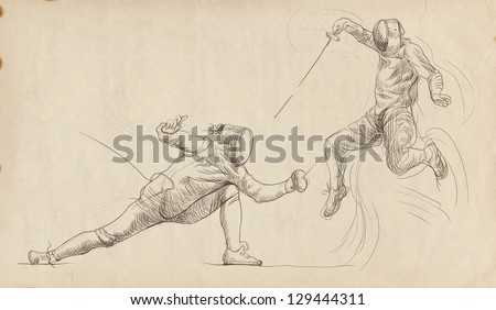 Fencing. /// Full-sized (original) hand drawing. /// Outlines in shades of brown on old paper. - stock photo
