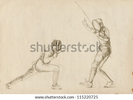 """Fencing. Full-sized (original) hand drawing (useful for converting """"live trace"""" for the vector image - and others). Technique: digital tablet. Number of colors: hundreds - stock photo"""