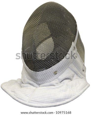Fencing mask isolated with clipping path - stock photo