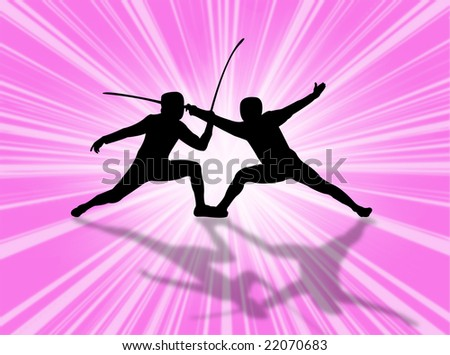 Fencing match against a very colorful background - stock photo