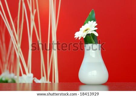 Feng Shui Decoration White Flower Vase Stock Photo Royalty Free