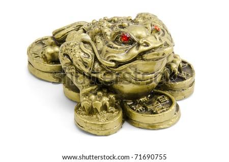 Feng shui frog sitting on money isolated on white background stock