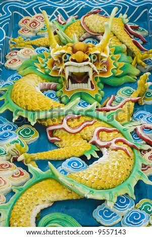 feng sui jade dragon statue - stock photo