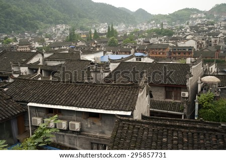 FENGHUANG, CHINA - JUNE 9 : View the top of Fenghuang old city on June 9, 2015 in Fenghuang, China.This ancient town was added to the UNESCO World Heritage Tentative List in the Cultural category.