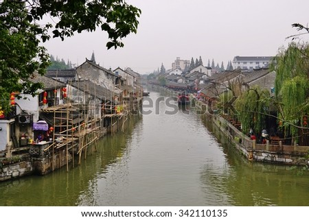 FENGJING, CHINA -15 NOVEMBER 2015- Fengjing is an ancient canal water town in the Jinshan district near Shanghai.