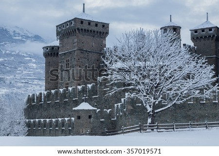 fenis castle in winter time, Italy - stock photo