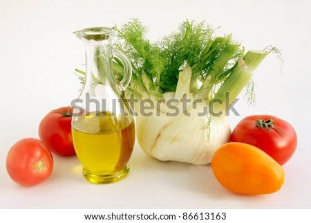 fennel,olive oil and tomato for salad