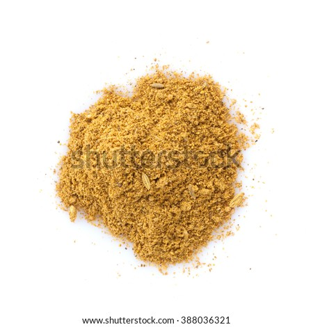 Fennel powder. Isolated on white background - stock photo