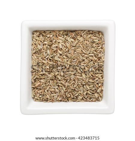 Fennel seeds in a square bowl isolated on white background - stock photo