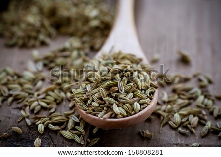 Fennel seeds on wooden spoon - stock photo