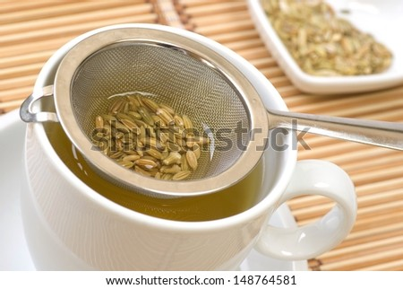 Fennel tee and seeds in a sieve - stock photo