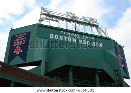 Fenway Park, Boston.  Icludes 2007 American League Champions banner. - stock photo