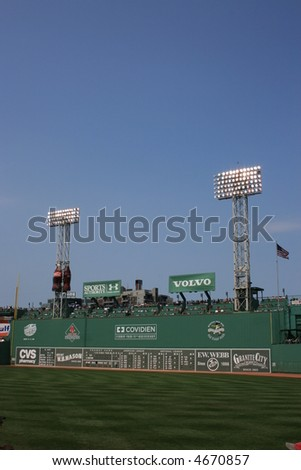 Fenway Park's Green Monster. - stock photo
