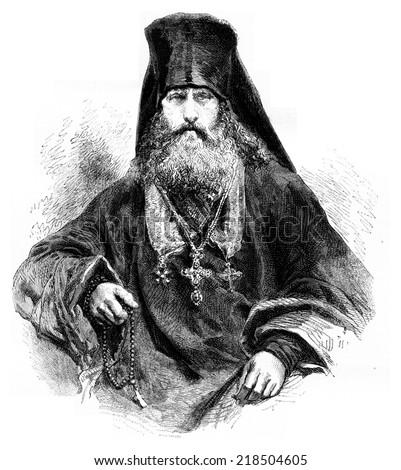 Feofan, Archimandrite of the Solovetsky monastery, vintage engraved illustration. Le Tour du Monde, Travel Journal, (1872). - stock photo
