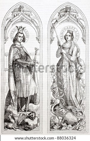 Ferdinand III of Castile and Adelayde of Hungary glass painting created in Sevres manufacturing after drawings of Deveria. Published on Magasin Pittoresque, Paris, 1844 - stock photo