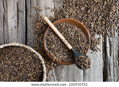 Fermented chocolate malt on a wooden background - stock photo