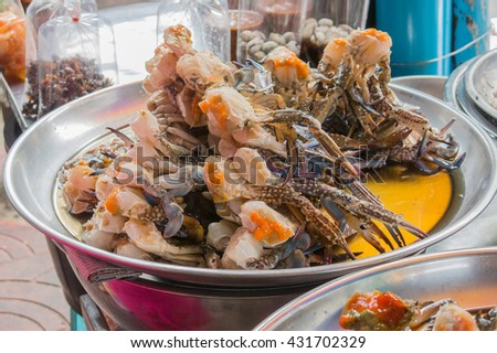 fermented horse crab or blue swimming crab in chinatown market, Bangkok, Thailand, street food