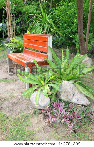 fern in plant pot and wooden chair furniture decorated at tropical garden in the morning - stock photo