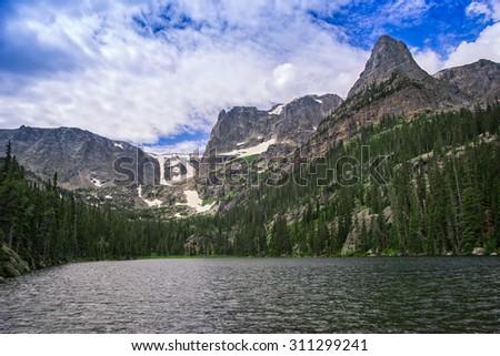 Fern Lake, Rocky Mountain National Park, Colorado, USA. - stock photo