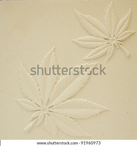 Fern leaf patterns on the walls, plaster, natural color. - stock photo
