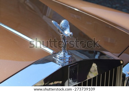 """Ferrara, Italia - March 29, 2015: The photo was made at the """"Valli e Nebbie"""", sporting event the march 29, 2015. Logo of the Rolls Royce - stock photo"""