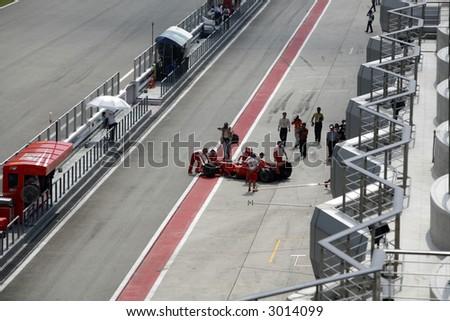 Ferrari Formula One team at Sepang International Circuit. - stock photo
