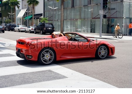 Ferrari on Rodeo Drive in Beverly Hills, Los Angeles