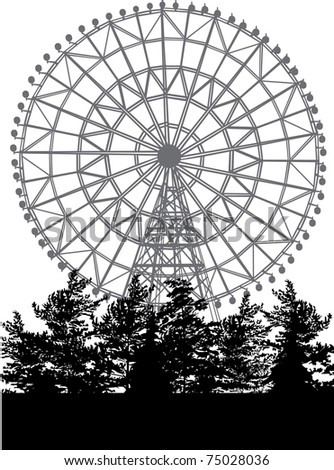 ferris wheel and trees isolated on white background