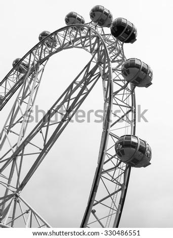 Ferris Wheel Black and White - stock photo