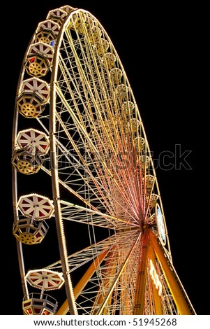 ferris wheel by night and great lights - stock photo