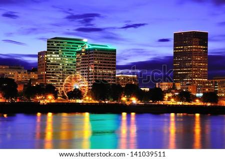 Ferris Wheel in Downtown Portland - stock photo